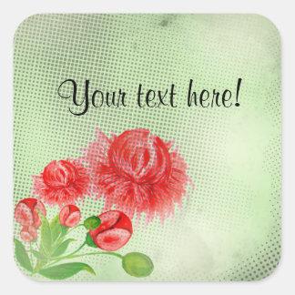 Sticker Carré Conception vintage de fleur de pivoines roses
