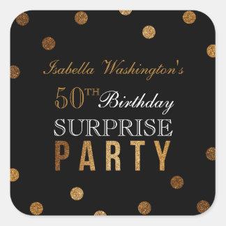 Sticker Carré Confettis d'or et fête d'anniversaire noire de