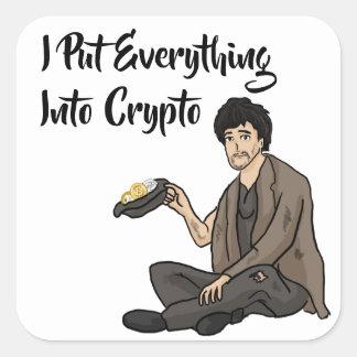 Sticker Carré Conte d'avertissement de crypto devise
