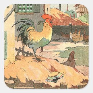Sticker Carré Coq à la ferme illustrée