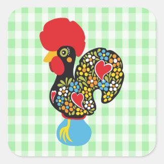 Sticker Carré Coq célèbre de Barcelos Nr 06