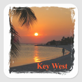 Sticker Carré Coucher du soleil de Key West