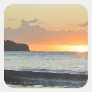Sticker Carré Coucher du soleil des Caraïbes
