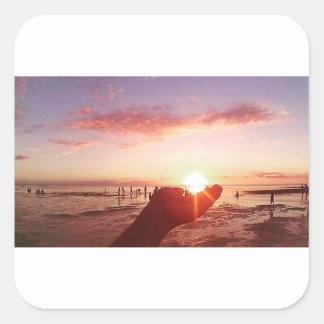 Sticker Carré Coucher du soleil merveilleux et incroyable aux