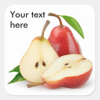 Sticker Carré Coupez les poires rouges