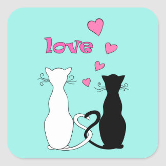 Sticker Carré couple cats with love