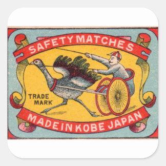 Sticker Carré Course d'attelages antique Kobe d'autruche