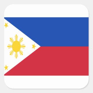 Sticker Carré Coût bas ! Drapeau de Philippines