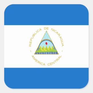 Sticker Carré Coût bas ! Drapeau du Nicaragua