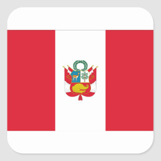 Sticker Carré Coût bas ! Drapeau du Pérou