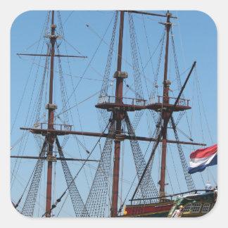 Sticker Carré COV en bois de bateau de voile d'Amsterdam - gamme