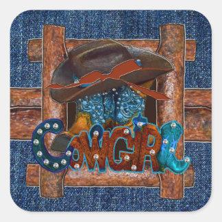 Sticker Carré Cow-girl rustique de denim