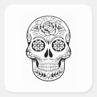 Sticker Carré Crâne de sucre