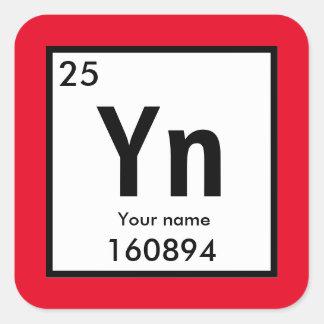 Sticker Carré Créez votre propre élément chimique