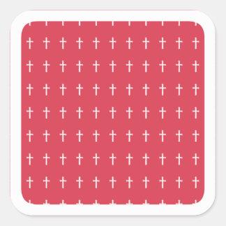 Sticker Carré Croix blanche
