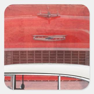 Sticker Carré Cru blanc rouge de Dodge de voitures de Bel Air
