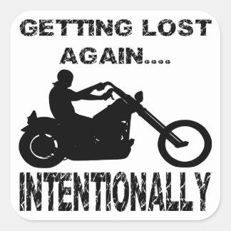 Sticker Carré Cycliste obtenant perdu encore intentionnellement