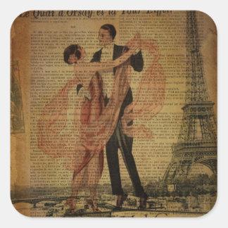 Sticker Carré danseurs romantiques de salle de bal de valse de