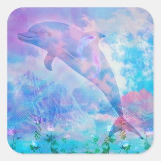 Sticker Carré Dauphin de Vaporwave dans le ciel