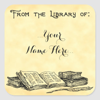 Sticker Carré De la bibliothèque du cru réserve l'ex-libris fait