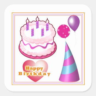 Sticker Carré Décorations de ballon de gâteau de HappyBIRTHDAY