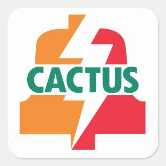 Sticker Carré Deisgn d'autocollant de Bell du cactus onze par