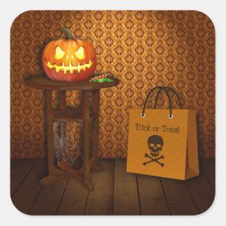 Sticker Carré Des bonbons ou un sort de citrouille de Halloween