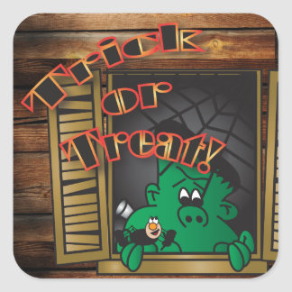 Sticker Carré Des bonbons ou un sort Halloween vert Frankenstien
