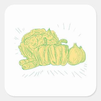 Sticker Carré Dessin d'oignon de poivron de Brocolli