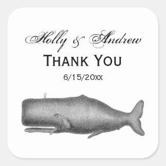 Sticker Carré Dessin du 19ème siècle vintage de baleine