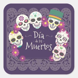 Sticker Carré Dia de los Muertos Day des masques morts de crâne