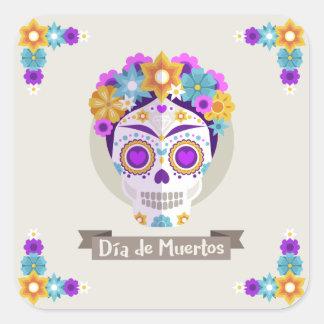 Sticker Carré Dia de los Muertos Day des vacances mortes