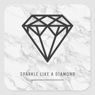 Sticker Carré Diamant avec du marbre