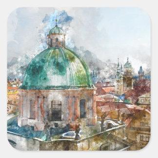 Sticker Carré Dôme de cathédrale dans la République Tchèque de