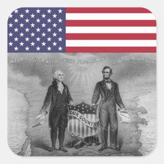 Sticker Carré Drapeau américain de George Washington Abraham