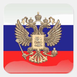Sticker Carré Drapeau brillant russe