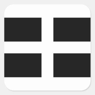 Sticker Carré Drapeau des Cornouailles - le drapeau de Piran de