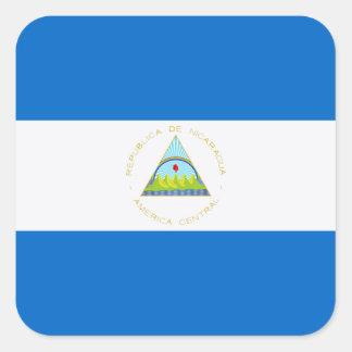 Sticker Carré Drapeau d'étiquette du Nicaragua