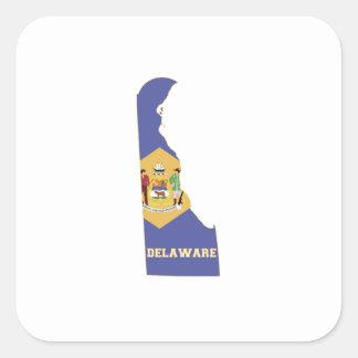 Sticker Carré Drapeau et carte d'état du Delaware