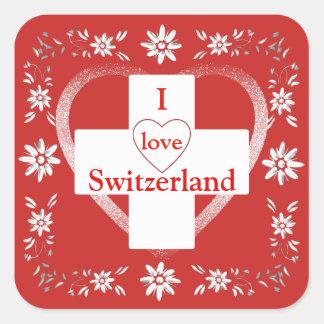Sticker Carré Drapeau et edelweiss suisses