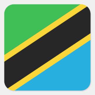 Sticker Carré Drapeau national du monde de la Tanzanie