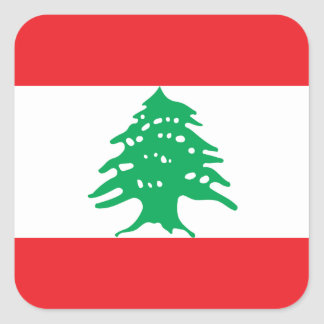 Sticker Carré Drapeau national du monde du Liban