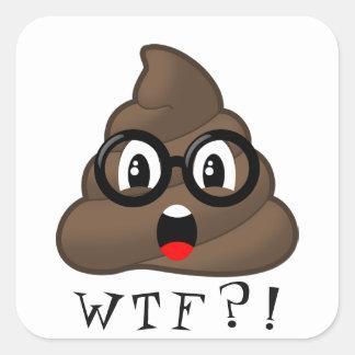 Sticker Carré Dunette drôle Emoji de WTF avec l'autocollant en
