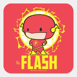 Sticker Carré Éclair de Chibi avec l'électricité