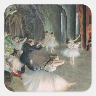 Sticker Carré Edgar Degas | la répétition du ballet sur l'étape