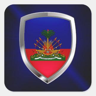 Sticker Carré Emblème métallique du Haïti