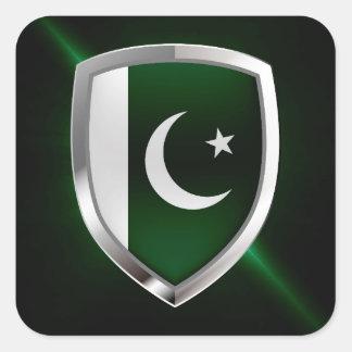 Sticker Carré Emblème métallique du Pakistan