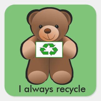 Sticker Carré En réutilisant l'ours de nounours réutilisez