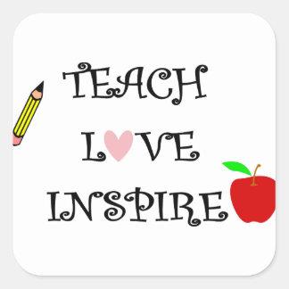 Sticker Carré enseignez l'amour inspirent