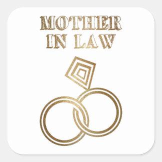 Sticker Carré Épouser romantique d'anneaux d'or de belle-mère